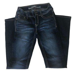 Wallflower Size 1 / 24 Denim Blue Bootcut Jeans Women's  Stretch Rhinestones